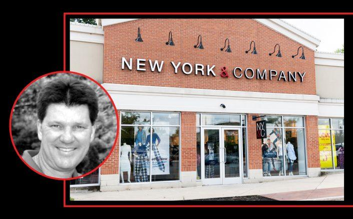 RTW Retailwinds CEO and CFO Sheamus Toal and a New York & Company store (Getty, LinkedIn)