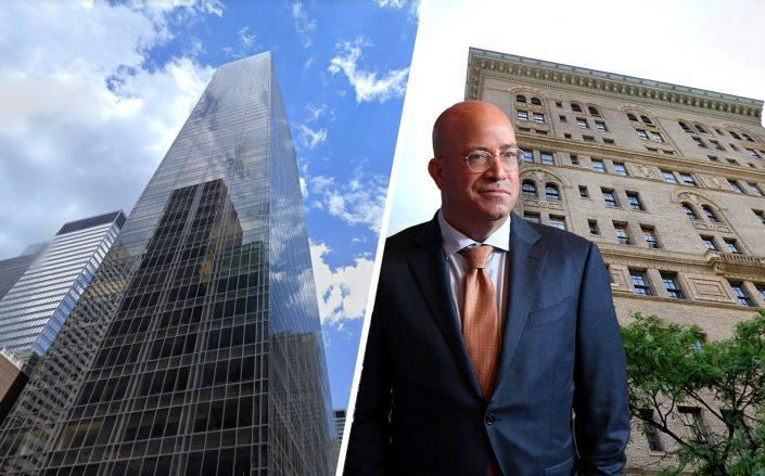 641 Fifth Avenue and 32 East 64th Street with Jeff Zucker (Google Maps; Getty)