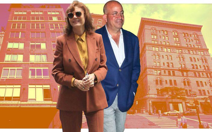 Susan Sarandon with her home at West 15th Street in Chelsea and Jeff Zucker with 32 East 64th Street (Google Maps, Getty StreetEasy)