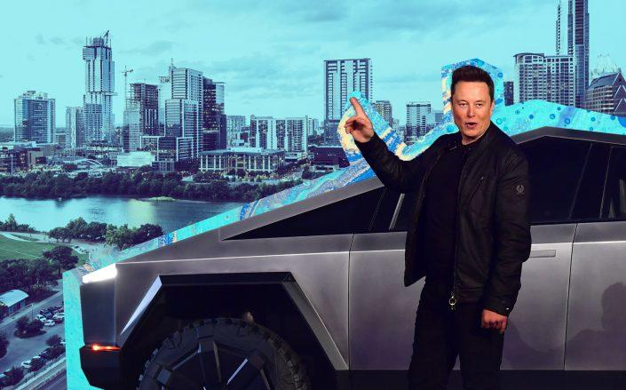Elon Musk and the Cybertruck with Austin, Texas (Getty)