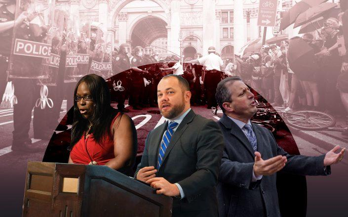 City Council member Vanessa Gibson, Speaker Corey Johnson and City Council member Brad Lander (Getty)