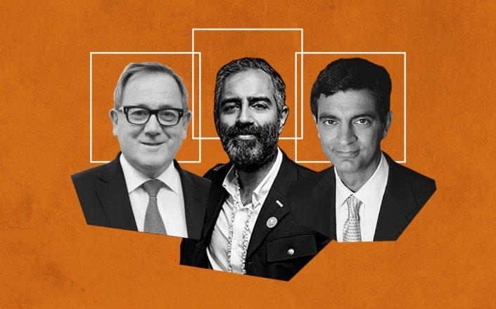 IWG CEO Mark Dixon, Knotel CEO Amol Sarva and WeWork CEO Sandeep Mathrani