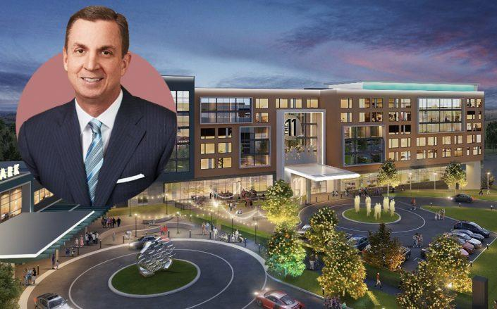 Michael Crawford and a rendering of the project (LInkedin, Hall of Fame Village)