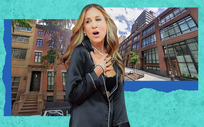 Sarah Jessica Parker with 20 East 10th Street and 150 Charles Street (Getty, Google Maps)
