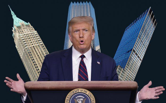 Donald Trump with 40 Wall Street, 725 Fifth Avenue and 1290 Sixth Avenue (Getty, Wikipedia, Trump Organization, Vornado)