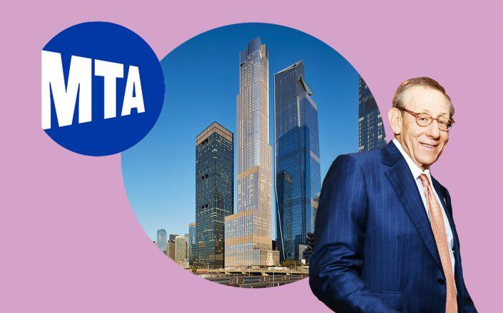 Related chairman Steve Ross and 35 Hudson Yards (Photos via Getty, SOM, MTA)