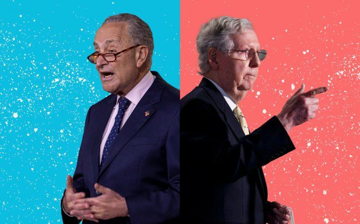Senate Minority Leader Chuck Schumer and Senate Majority Leader Mitch McConnell (Schumer by Tasos Katopodis/Getty Images; McConnell by Ting Shen/Xinhua via Getty)