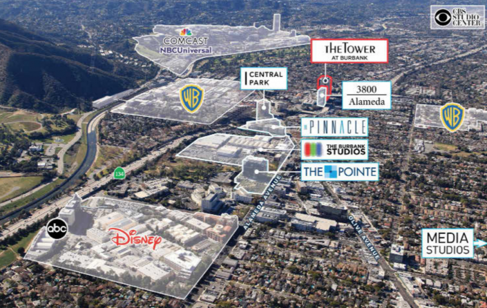 The Tower at Burbank is located in the Burbank Media District, a major entertainment hub. (Source: Loan prospectus via Trepp
