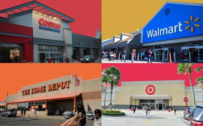 Clockwise from left: Costco, Walmart, Target and Home Depot (Getty Images)