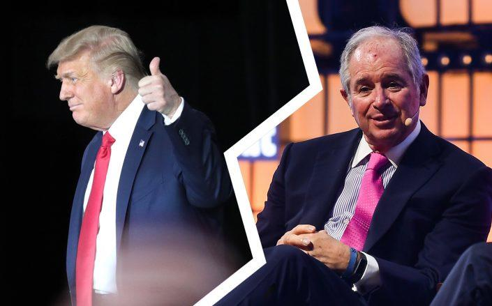 President Donald Trump and Blackstone CEO Stephen Schwarzman (Trump by Scott Olson/Getty Images; Schwarzman by David Fitzgerald/Sportsfile for Web Summit via Getty Images)