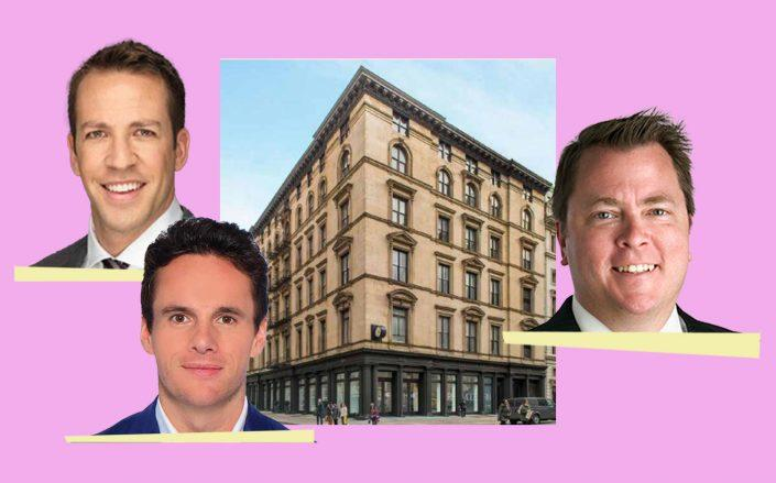 Clockwise: CBRE's Michael Remer, Richard Hodos and Joel Stephen with the Wizarding World Building at 935 Broadway (Images via CBRE)