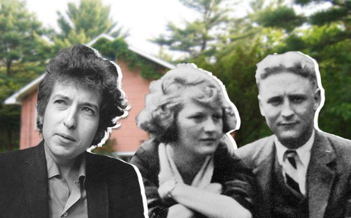 Bob Dylan, Zelda and F. Scott Fitzgerald, with Big Pink (Credit: Evening Standard/Getty Images, Bettmann/Getty Images, and Wikipedia)