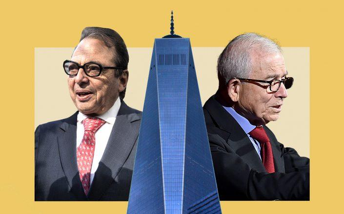 Durst Organization chairman Douglas Durst and Advance Publications president Donald Newhouse with One World Trade Center (Newhouse by Ilya S. Savenok/Getty Images for The Association for Frontotemporal Degeneration; Unsplash)