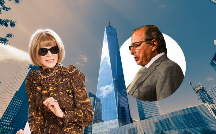 Anna Wintour of Condé Nast, One World Trade Center and Douglas Durst (Wintour by Dia Dipasupil/Getty Images; 1WTC via iStock; Durst by Patrick McMullan via Getty Images)