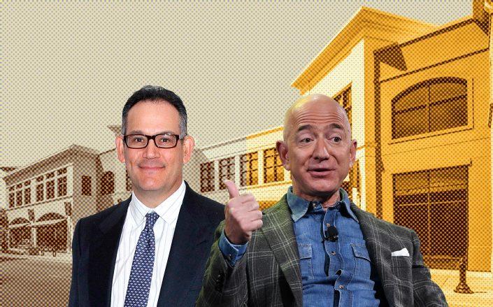 Simon Property Group CEO David Simon and Amazon CEO Jeff Bezos (Simon by Mireya Acierto/Getty Images; Bezos by MARK RALSTON/AFP via Getty Images)