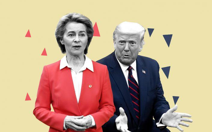 President of the European Commission Ursula von der Leyen and President Donald Trump (Photos by Dursun Aydemir/Anadolu Agency via Getty Images and SAUL LOEB/AFP via Getty Images)