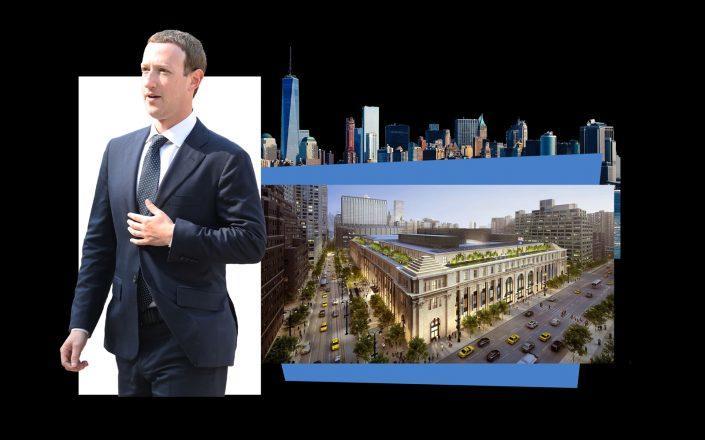 Facebook CEO Mark Zuckerberg and a rendering of the Farley Building (Getty; Vornado)