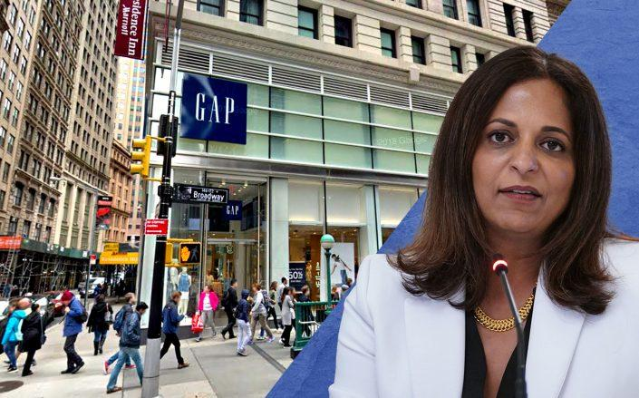 "Gap at 170 Broadway and Gap CEO Sonia Syngal (Photo via <a href=""https://www.google.com/maps/@40.7096646,-74.0101166,3a,75y,96.92h,101.42t/data=!3m6!1e1!3m4!1s0nekFMJ8bIt8l_R8fHSY3g!2e0!7i16384!8i8192?hl=en"" target=""_blank"" rel=""noopener noreferrer"">Google Maps</a>; Syngal by MANDEL NGAN/AFP via Getty Images)"