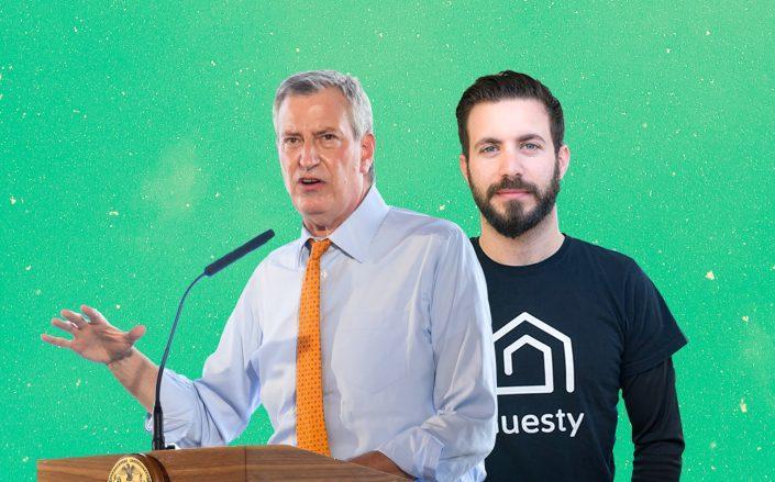 Mayor Bill de Blasio and Guesty CEO Amiad Soto (De Blasio by Noam Galai/Getty Images; Viola)