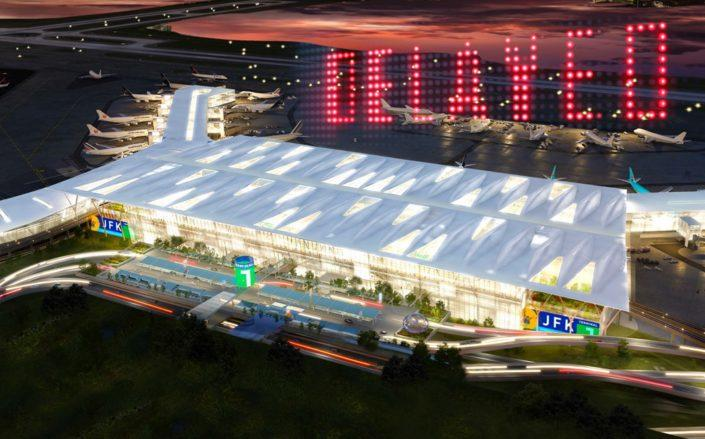 JFK Airport's $15 billion planned overhaul could be delayed for years, as passenger volume continues to plummet. (Rendering via Governor Cuomo's office)
