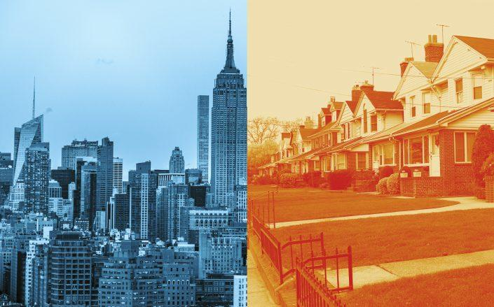 New York's real estate market is becoming two different stories: Manhattan, where deals are falling — and the suburbs, where demand is spiking. (iStock, Unsplash)