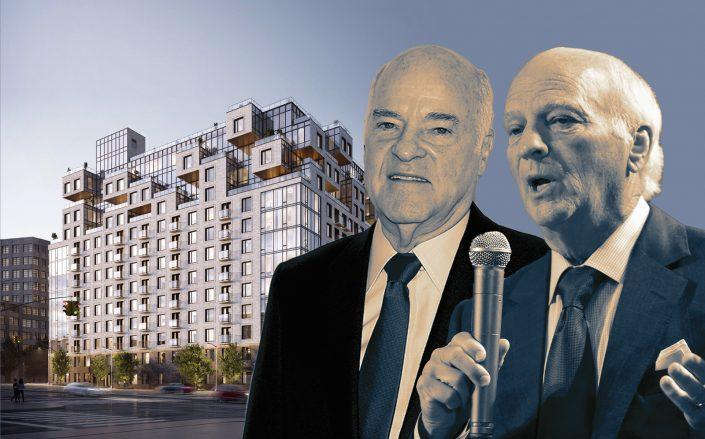 KKR's Henry Kravis and George Roberts and 260 gold street (Getty; rendering via J Frankl Architects)