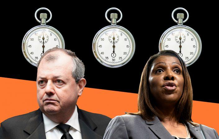 REBNY's James Whelan and New York Attorney General Letitia James (Getty Images; iStock)