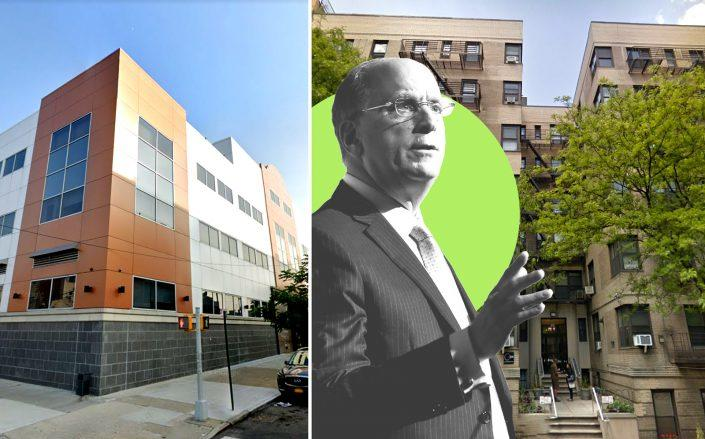 6201 15th Avenue in Bensonhurst and 185 Claremont Avenue with BlackRock CEO Larry Fink (Google Maps; Fink by Eugene Gologursky/Getty Images for IRC)
