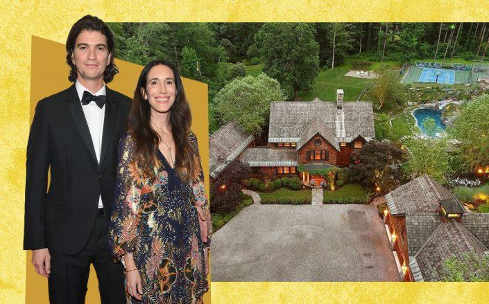 """Adam Neumann and Rebekah Paltrow Neumann with 69 Girdle Ridge Road in Katonah (Neumanns by by Ben Gabbe/Getty Images for Time; <a href=""""https://www.realtor.com/realestateandhomes-detail/69-Girdle-Ridge-Rd_Katonah_NY_10536_M41952-75763#photo0"""" target=""""_blank"""" rel=""""noopener"""">Realtor</a>)"""