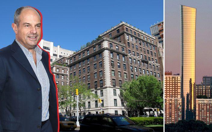 From left: Massimo Ferragamo with 655 Park Avenue and 111 Murray Street (Photos via Getty, StreetEasy and Wikipedia)