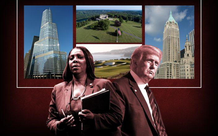 Attorney General Letitia James and President Donald Trump. Background from left: the Trump International Hotel and Tower in Chicago, Trump National Golf Club in Los Angeles, Seven Springs Estate in Westchester County and 40 Wall Street in New York City (Photos via Getty; C R and Yuki Shimazu via Flickr; Wikipedia Commons)