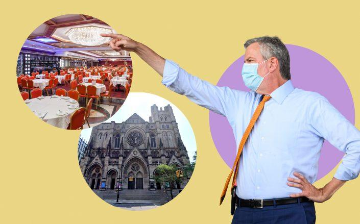 Mayor Bill de Blasio with Jing Fong at 20 Elizabeth Street in Chinatown and St. John the Divine at 1047 Amsterdam Avenue in Morningside Heights (de Blasio by Noam Galai/Getty Images; Jing Fong via Facebook; St. John the Diving via Google Maps)