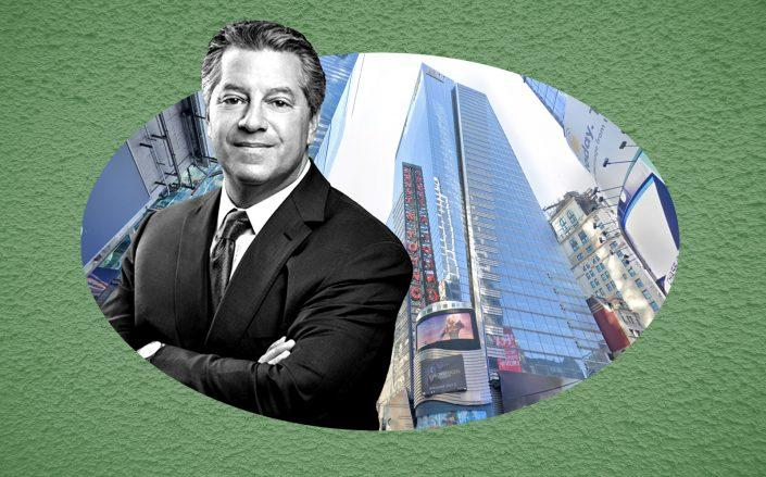 "SL Green CEO Marc Holliday and 5 Times Square (SL Green; <a href=""https://www.google.com/maps/@40.7562911,-73.9867874,3a,75y,227.38h,134.46t/data=!3m6!1e1!3m4!1s2KuJF2MrALre8HbKVYeX-g!2e0!7i16384!8i8192?hl=en"" target=""_blank"" rel=""noopener"">Google Maps</a>"