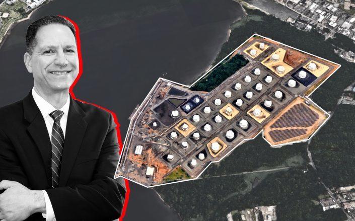 Staten Island Marine Development's Thomas DelMastro and the site at 4101 Arthur Kill Road (Credit: Richmond University Medical Center; Google Maps)