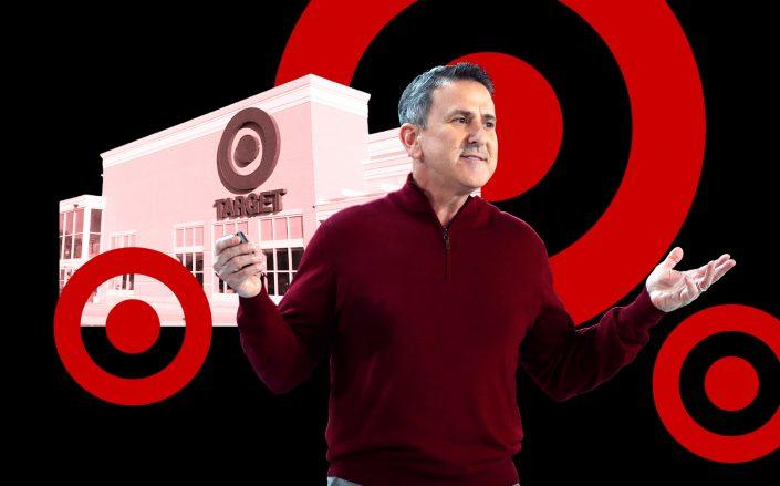 Target CEO Brian Cornell (Cornell by Jerry Holt/Star Tribune via Getty Images; Target store via Mike Mozart of TheToyChannel and JeepersMedia on YouTube)