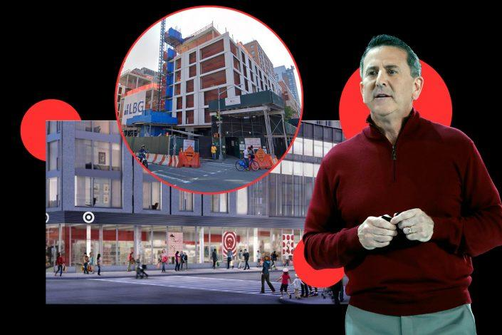 A rendering of Target at 615 10th Avenue (inset) with Target CEO Brian Cornell (Target, Google Maps, Getty Images)