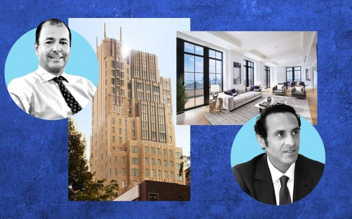 Walker Tower at 212 West 18th Street with in-contract buyer Ron Vinder (left), and prior owner Khadem al-Qubaisi (right) (Images from JDS Development, Morgan Stanley, Pixabay)