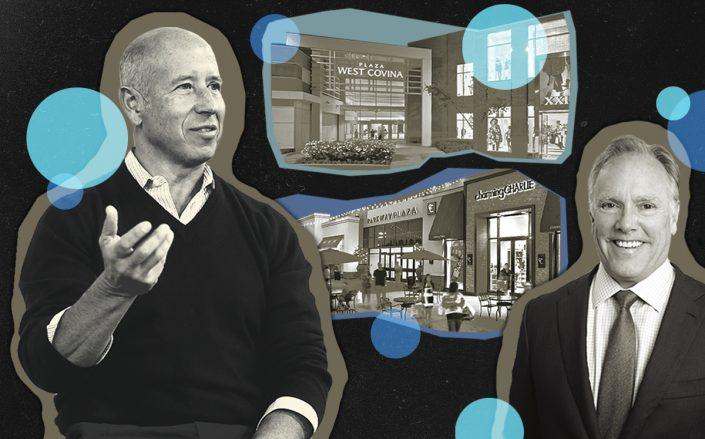 Starwood's Barry Sternlicht and Pacific Retail's Steve Plenge with Parkway Plaza mall in San Diego and the Plaza West Covina mall in Los Angeles (Getty, Starwood, Pacific Retail)