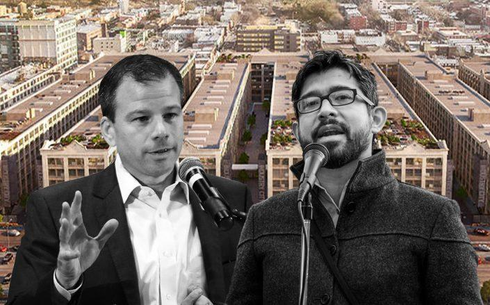 Andrew Kimball and Carlos Menchaca with a rendering of Industry City (Getty)