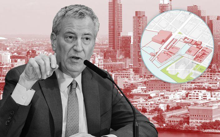 Mayor Bill de Blasio and (inset) the proposed development in Long Island City (Getty, YourLIC)