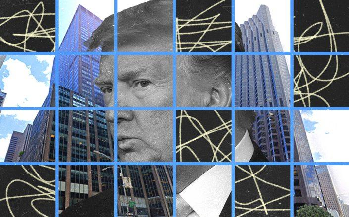 Donald Trump with 1290 Sixth Avenue in Manhattan and 555 California Street in San Francisco (Getty, Google Maps)