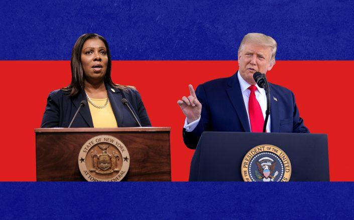 New York Attorney General Letitia James and President Donald Trump (Getty)
