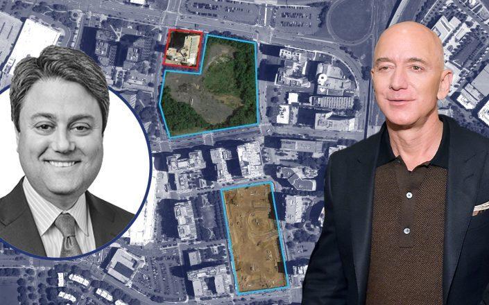 Blackstone's Frank Cohen and Amazon CEO Jeff Bezos with the HQ2 site (Getty; Blackstone; Google Maps)