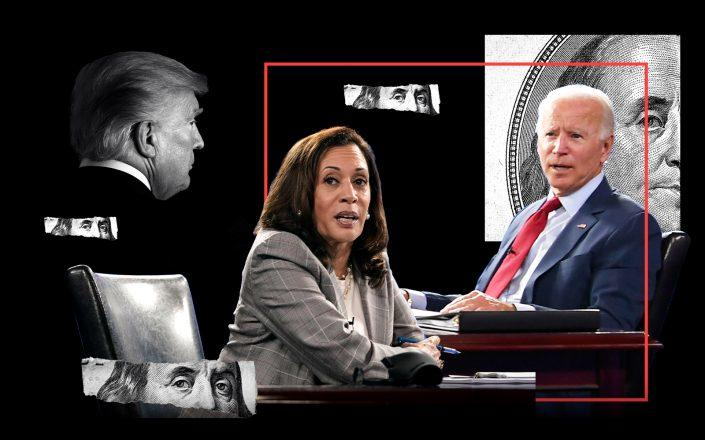 Kamala Harris and Joe Biden with Donald Trump (Getty; iStock)