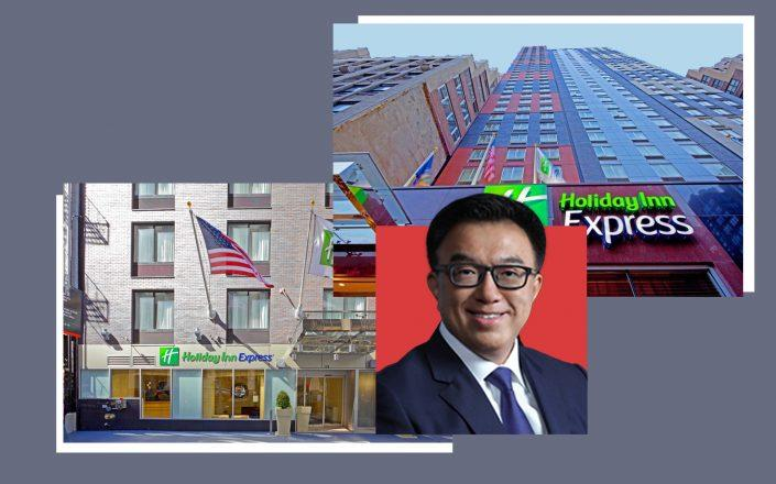 From left: Holiday Inn Express at Wall Street, Cindat CEO Greg Peng and Holiday Inn Express at Times Square (Credit: IHG/Booking and Cindat)