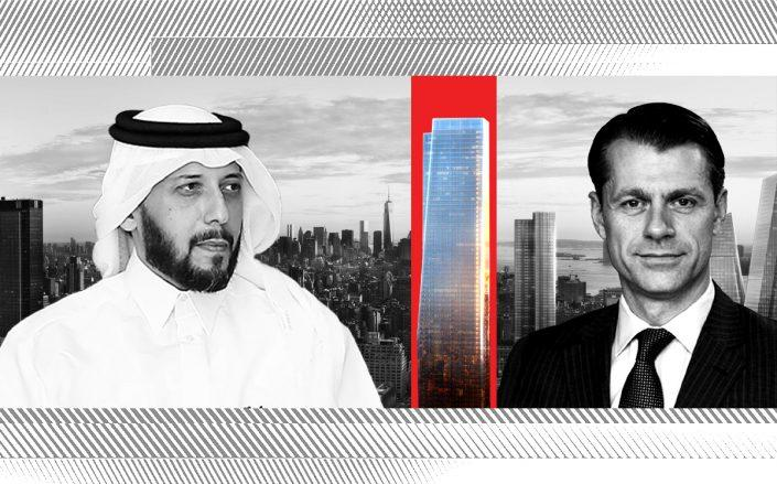 QIA CEO Mansoor Bin Ebrahim Al-Mahmoud, One Manhattan West and Brookfield CEO Brian Kingston (Getty; Brookfield)