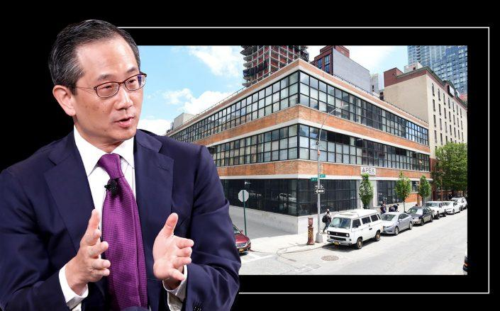 Carlyle CEO Kewsong Lee and 24-02 Queens Plaza South in Long Island City (Getty; Atlas Capital)