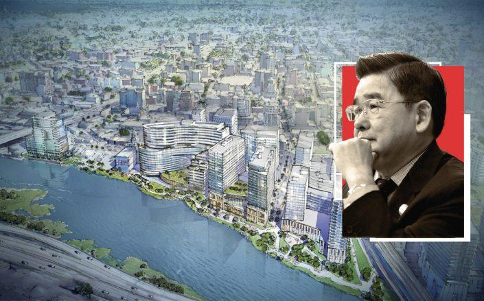 A rendering of the Flushing waterfront and Council member Peter Koo (Rendering via Hill West Architects; New York City Council)