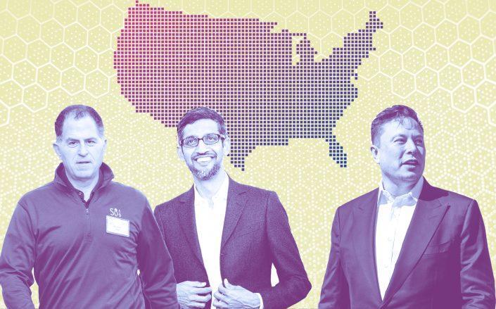 Dell CEO Michael Dell, Google CEO Sundar Pichai and Tesla CEO Elon Musk (Getty; iStock)