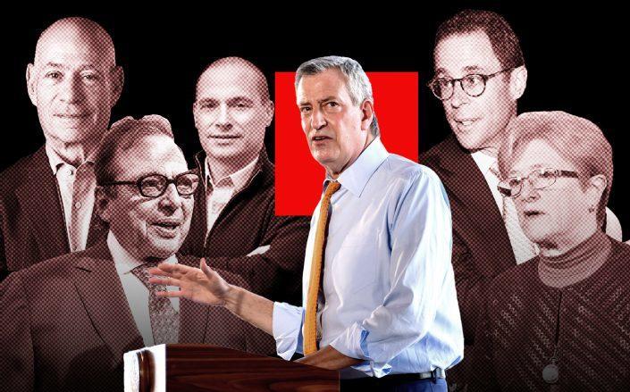 From left: Charles Bendit, Douglas Durst, Douglas Eisenberg, Bill de Blasio, Jeff Blau and Kathryn Wylde (Getty)